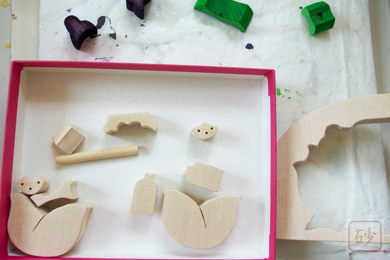 組み木の雛人形