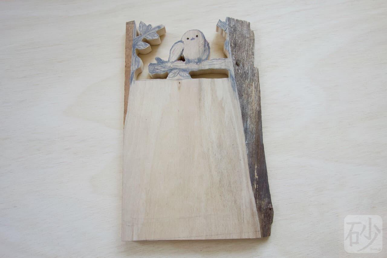 木彫りシマエナガ写真立て