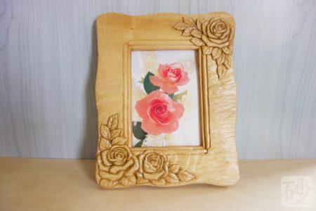 木彫り薔薇の写真たて