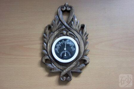 木彫りアカンサス温度計